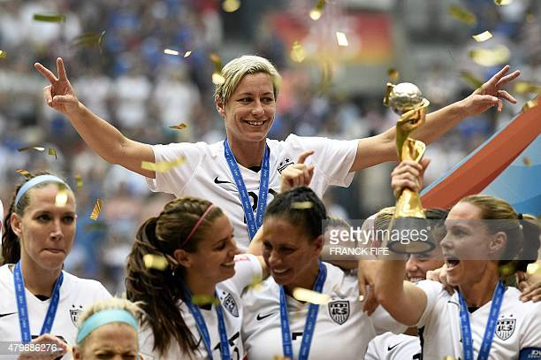 USA forward Abby Wambach celebrates after her teams' win in the final 2015 FIFA Women's World Cup match between USA and Japan at the BC Place Stadium...