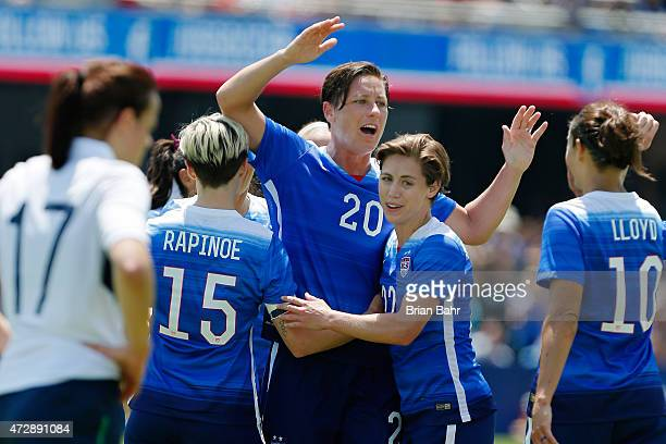 Forward Abby Wambach of the United States celebrates her second goal against Ireland during their international friendly match on May 10 2015 at...