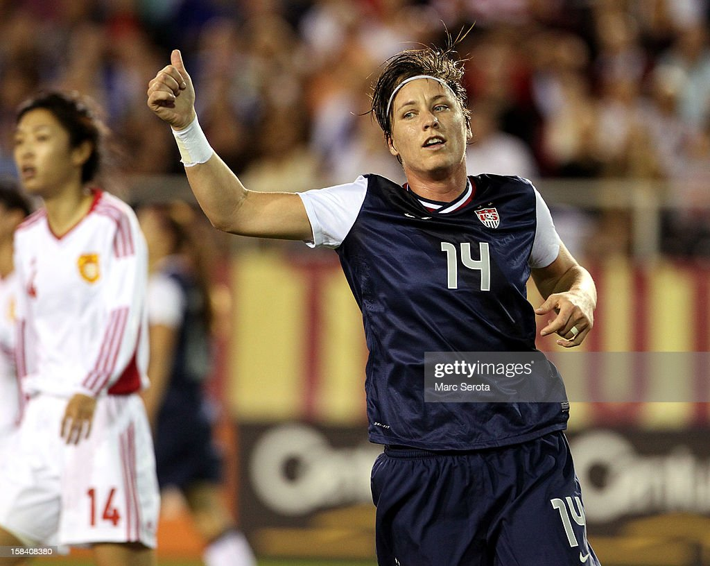 Forward <a gi-track='captionPersonalityLinkClicked' href=/galleries/search?phrase=Abby+Wambach&family=editorial&specificpeople=162757 ng-click='$event.stopPropagation()'>Abby Wambach</a> #14 of the USA celebrates scoring a goal against China at FAU Stadium on December 15, 2012 in Boca Raton, Florida. The USA defeated China 4-1.