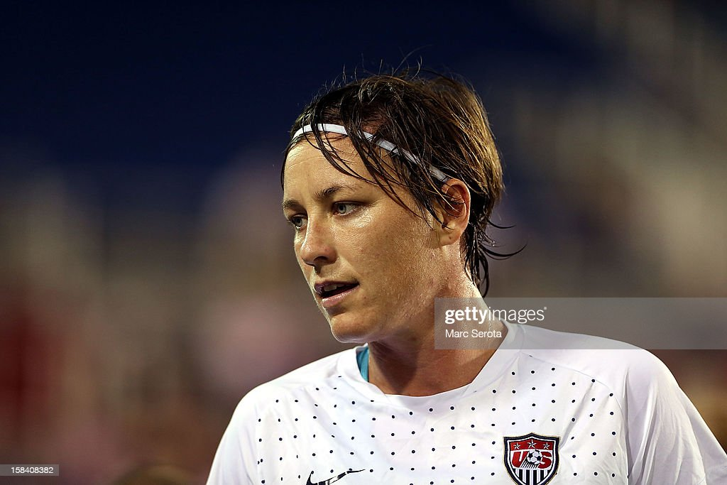 Forward Abby Wambach #14 of the USA plays against China at FAU Stadium on December 15, 2012 in Boca Raton, Florida. The USA defeated China 4-1.