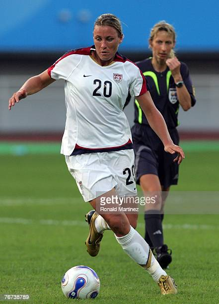 Forward Abby Wambach of USA moves the ball against Sweden during the FIFA Women's World Cup 2007 Group B match at the Chengdu Sports Center Stadium...