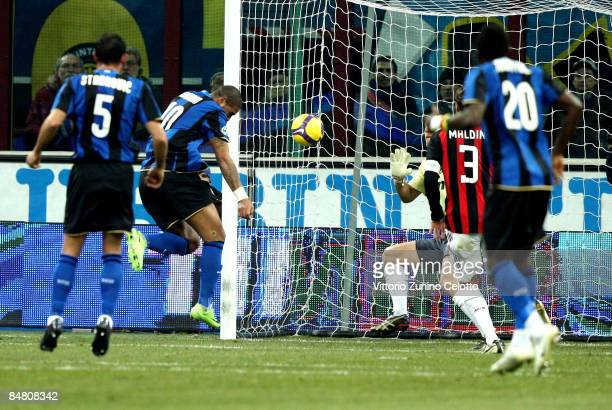 Forward Adriano of FC Inter Milan scores during FC Inter Milan v AC Milan Serie A match on February 15 2009 in Milan Italy