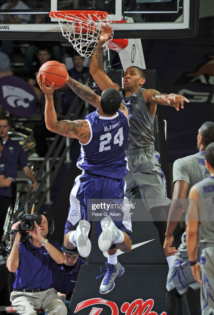 Forward Adrick McKinney #24 of the Texas Christian Horned Frogs drives to the basket against guard Rodney McGruder #22 of the Kansas State Wildcats during the second half on March 5, 2013 at Bramlage Coliseum in Manhattan, Kansas. Kansas State defeated Texas Christian 79-68.
