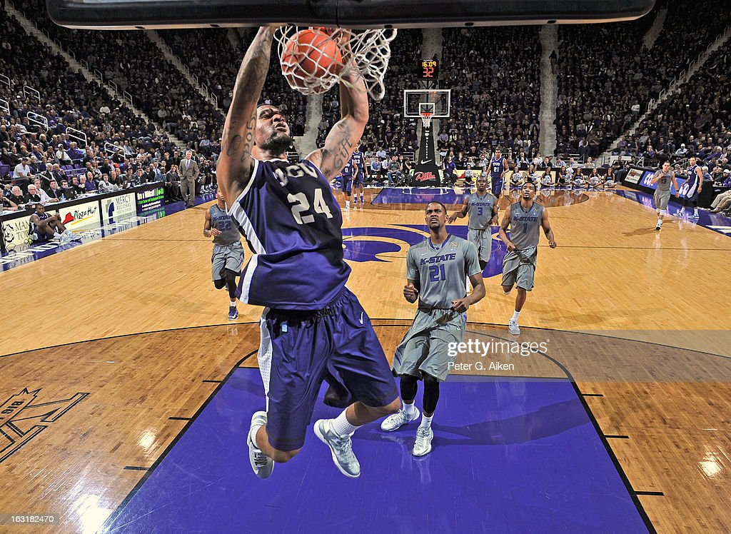 Forward Adrick McKinney #24 of the Texas Christian Horned Frogs dunks the ball against the Kansas State Wildcats during the second half on March 5, 2013 at Bramlage Coliseum in Manhattan, Kansas. Kansas State defeated Texas Christian 79-68.