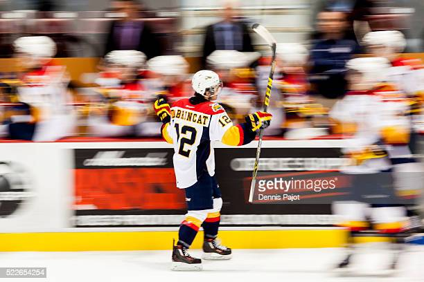 Forward Alex DeBrincat of the Erie Otters celebrates after a goal against the Windsor Spitfires on February 6 2016 at the WFCU Centre in Windsor...