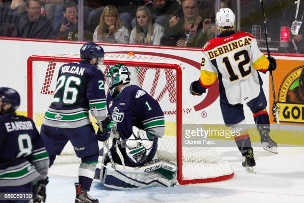 Forward Alex DeBrincat of the Erie Otters celebrates his second period goal against goaltender Carl Stankowski of the Seattle Thunderbirds on May 20...