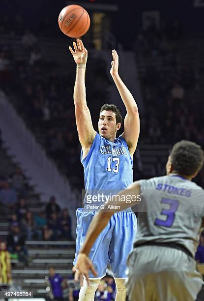 Forward Alex Rosenberg of the Columbia Lions puts up a shot against the Kansas State Wildcats during the first half on November 16 2015 at Bramlage...