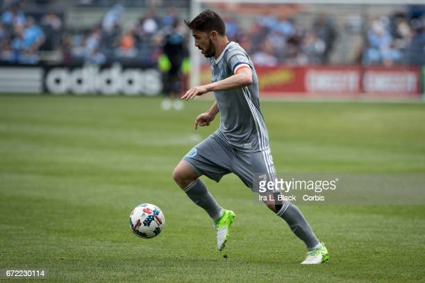 Forward and Captain David Villa of New York City FC drives across the pitch during the MLS match between New York City FC vs Orlando City SC on April...