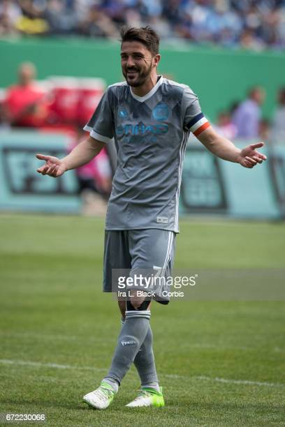 Forward and Captain David Villa of New York City FC seems to say he doesn't understand the call of the yellow card during the MLS match between New...