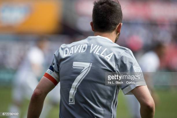 Forward and Captain David Villa of New York City FC turns back to resume play during the MLS match between New York City FC vs Orlando City SC on...