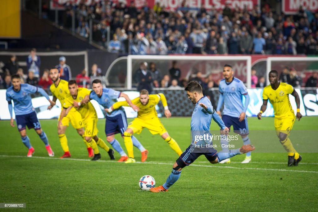 Forward and Captain David Villa (7) takes a penalty kick for the goal during the Audi MLS Eastern Conference Semifinal Leg 2 match between New York City FC vs Columbus Crew at Yankee Stadium on November 05, 2017 in the Bronx borough of New York.