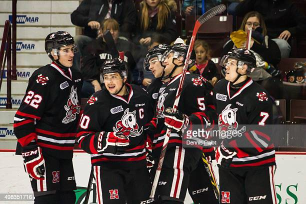Forward Anthony DiFruscia of the Niagara Ice Dogs celebrates a goal against the Windsor Spitfires on November 22 2015 at the WFCU Centre in Windsor...