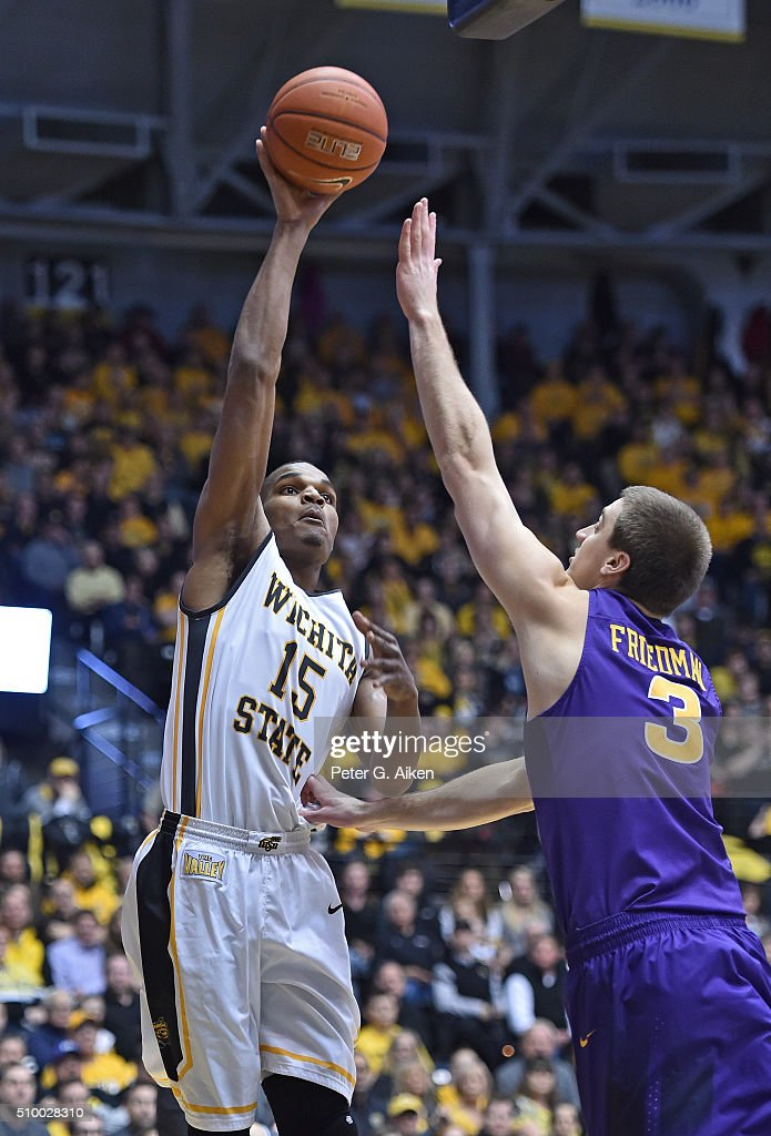 Forward Anton Grady #15 of the Wichita State Shockers shoots over center Ted Friedman #3 of the Northern Iowa Panthers during the first half on February 13, 2016 at Charles Koch Arena in Wichita, Kansas. Northern Iowa defeated Wichita State 53-50.