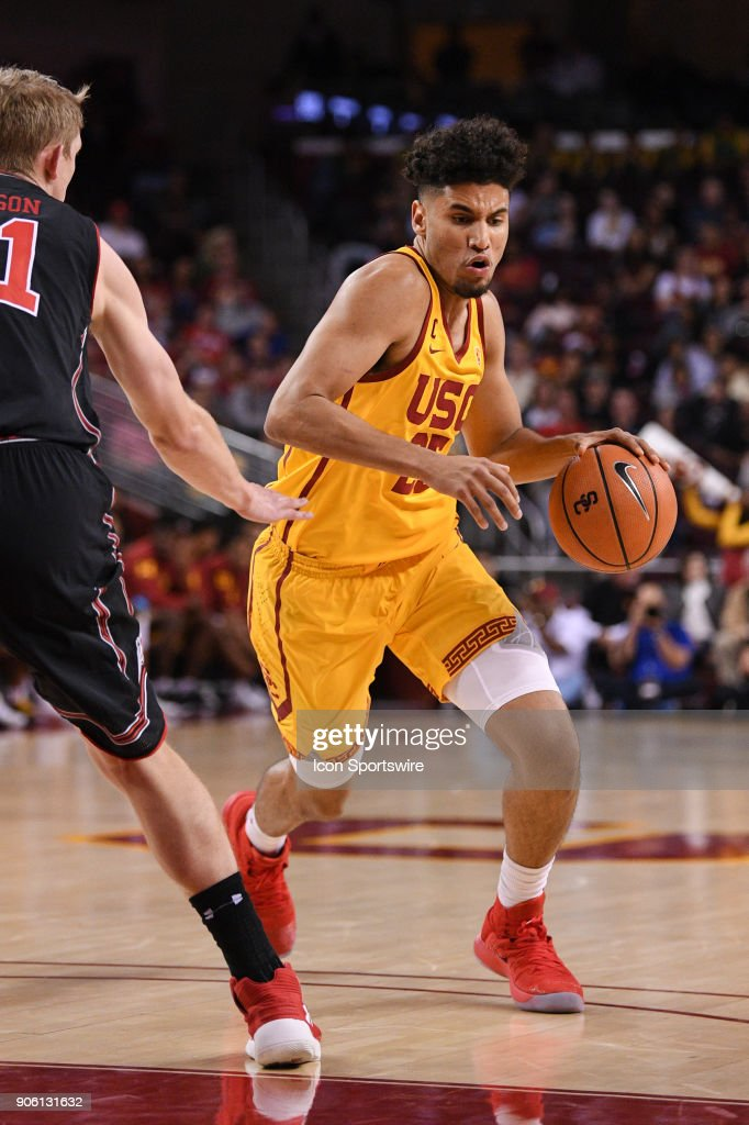 USC forward Bennie Boatwright (25) drives to the basket during a college basketball game between the Utah Utes and the USC Trojans on January 14, 2018, at the Galen Center in Los Angeles, CA.