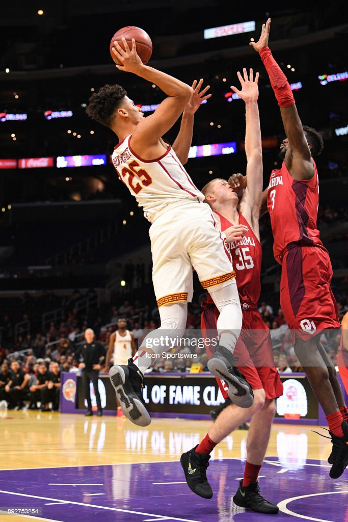 USC forward Bennie Boatwright (25) shoots over Oklahoma forward Brady Manek (35) during an college basketball game between the Oklahoma Sooners and the USC Trojans in the Basketball Hall of Fame Classic on December 8, 2017 at STAPLES Center in Los Angeles, CA.