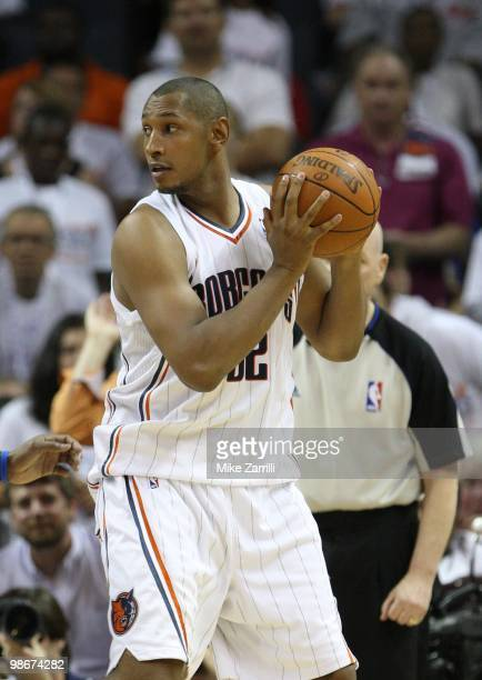 Forward Boris Diaw of the Charlotte Bobcats looks to pass during Game Three of the Eastern Conference Quarterfinals against the Orlando Magic during...
