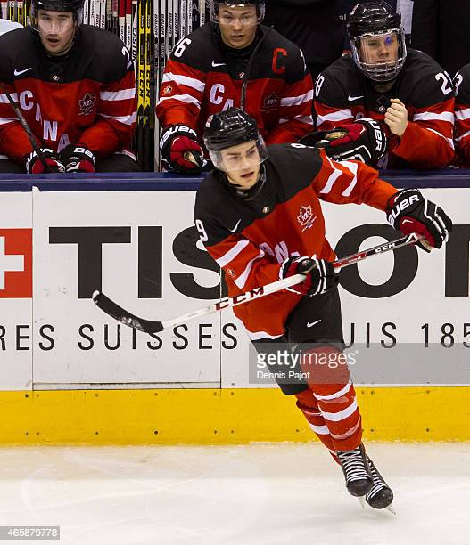 Forward Brayden Point of Canada moves the puck against Denmark during the 2015 IIHF World Junior Championship on January 02 2015 at the Air Canada...
