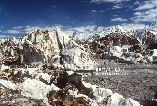 A forward camp of the Indian army in July 1991 at 16 thousand feet and 45 miles up on a 75 mile Siachen Glacier in Baltistan province near the...