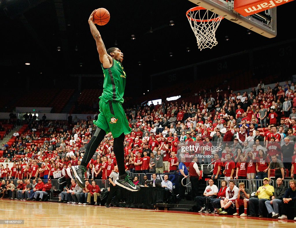 Forward Carlos Emory #33 of the Oregon Ducks dunks during overtime in the game against the Washington State Cougars at Beasley Coliseum on February 16, 2013 in Pullman, Washington.