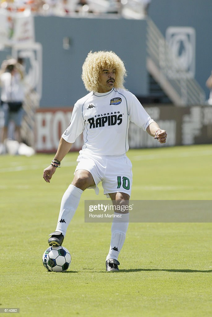 Forward Carlos Valderrama #10 of the Colorado Rapids traps the ball during the MLS match against the Dallas Burn at the Cotton Bowl in Dallas, Texas on May 18, 2002. The Burn defeated the Rapids 3-1 .