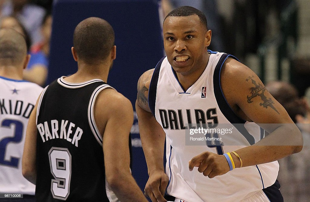 Forward <a gi-track='captionPersonalityLinkClicked' href=/galleries/search?phrase=Caron+Butler&family=editorial&specificpeople=201744 ng-click='$event.stopPropagation()'>Caron Butler</a> #4 of the Dallas Mavericks reacts during play against the San Antonio Spurs in Game Five of the Western Conference Quarterfinals during the 2010 NBA Playoffs at American Airlines Center on April 27, 2010 in Dallas, Texas.