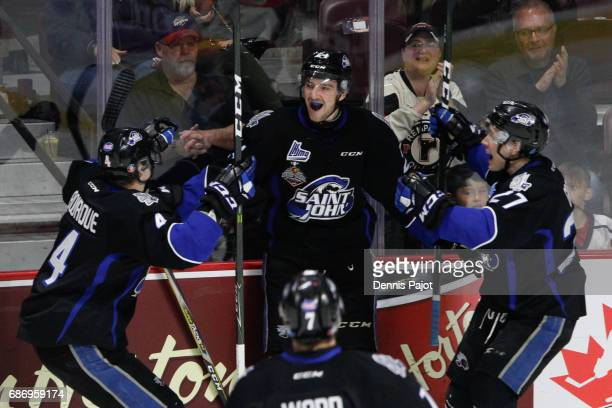 Forward Cedric Pare of the Saint John Sea Dogs celebrates his firstperiod goal against the Erie Otters on May 22 2017 during Game 4 of the Mastercard...