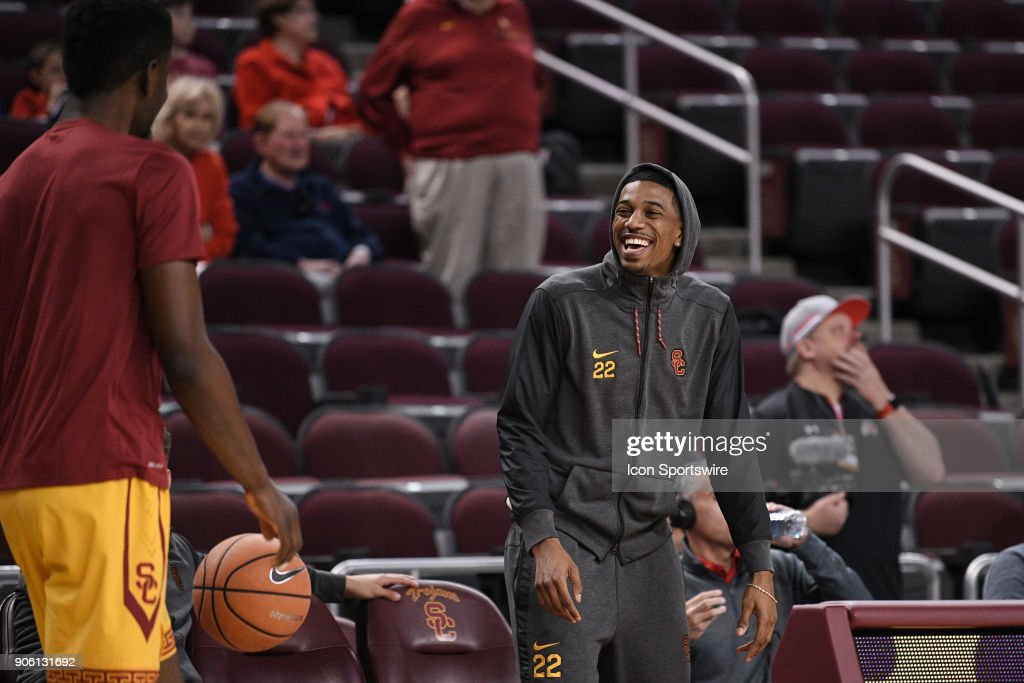 USC forward Chimezie Metu (4) jokes around with USC guard De'Anthony Melton (22) before a college basketball game between the Utah Utes and the USC Trojans on January 14, 2018, at the Galen Center in Los Angeles, CA.