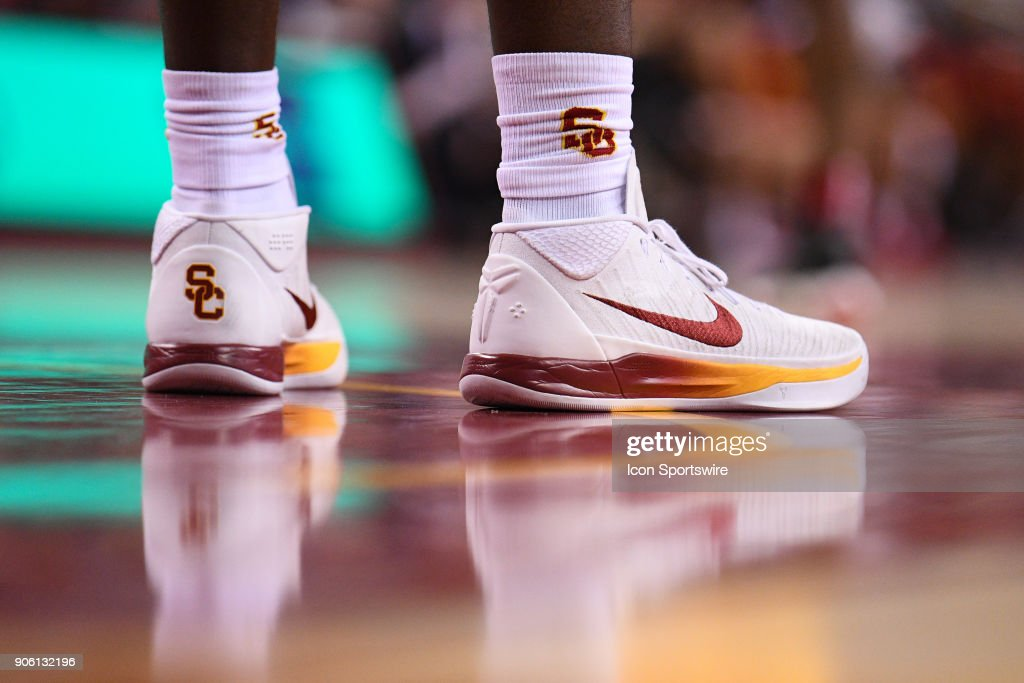 USC forward Chimezie Metu's Nike shoes during a college basketball game between the Utah Utes and the USC Trojans on January 14, 2018, at the Galen Center in Los Angeles, CA.