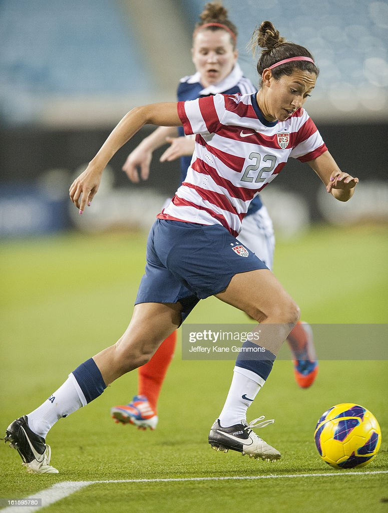 Forward Christen Press #22 of the United States makes her way to the goal during the game against Scotland at EverBank Field on February 9, 2013 in Jacksonville, Florida.