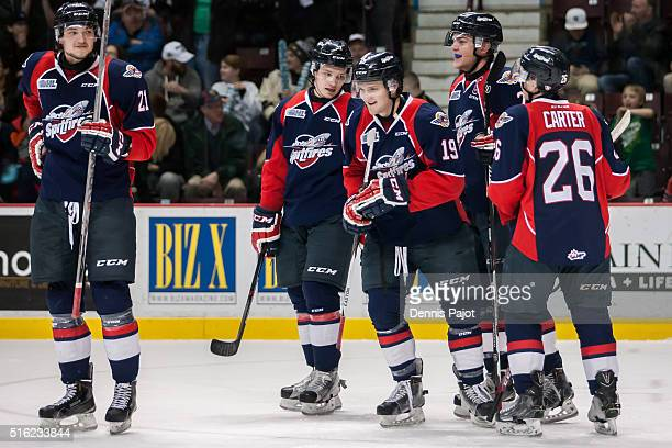 Forward Christian Fischer of the Windsor Spitfires celebrates his goal against the Kitchener Rangers on March 17 2016 at the WFCU Centre in Windsor...