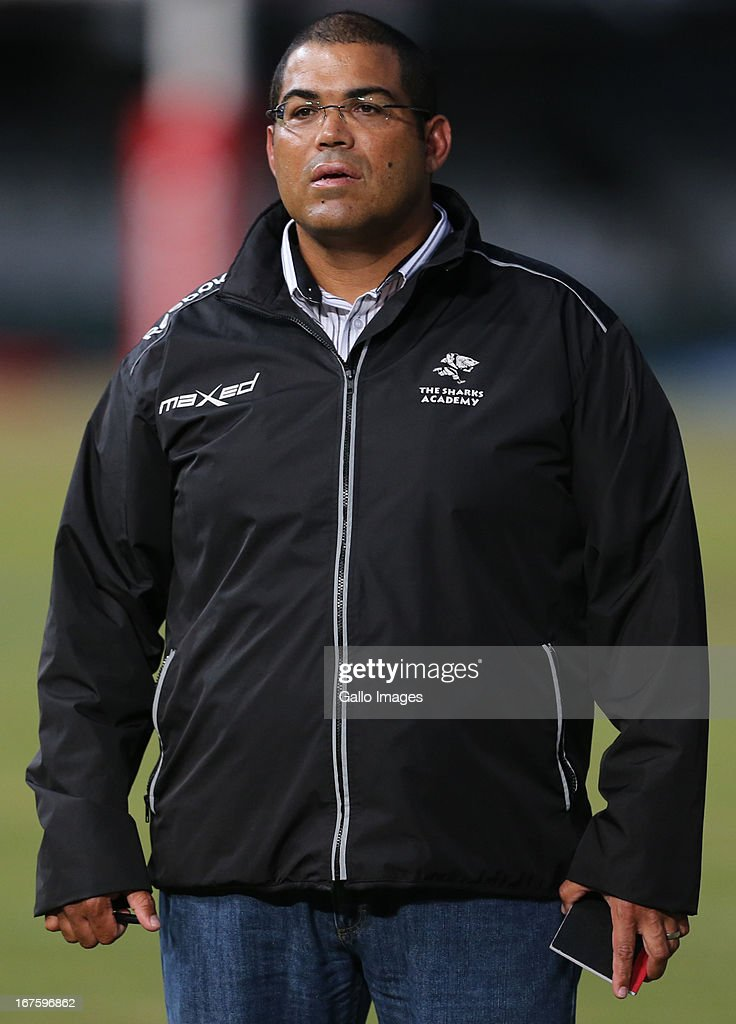 Forward coach Eltienne Fynn of Sharks XV looks on during the Vodacom Cup match between Sharks XV and ICBC Pampas XV at Kings Park on April 26, 2013 in Durban, South Africa.