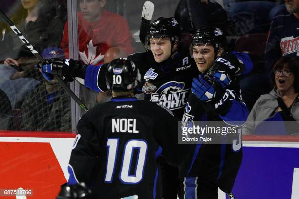 Forward Cole Reginato of the Saint John Sea Dogs celebrates his second period goal against the Seattle Thunderbirds on May 23 2017 during Game 5 of...