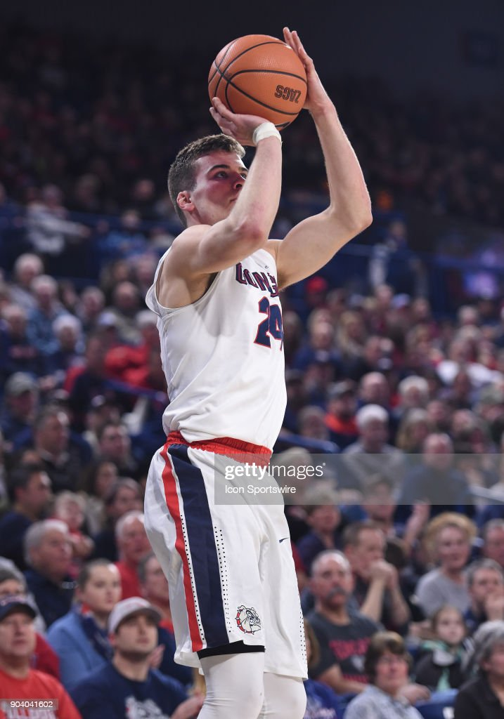 GU forward Corey Kispert (24) puts up a three-point attempt during the game between the Portland Pilots and the Gonzaga Bulldogs played on January 11, 2018, at McCarthey Athletic Center in Spokane, WA.