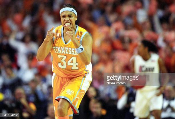 Forward Courtney McDaniel of the University of Tennessee pumps up her team against the University of Connecticut during the Division 1 Women's...