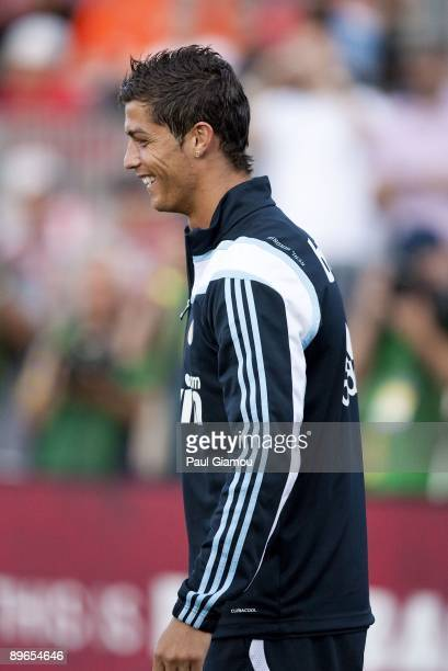 Forward Cristiano Ronaldo of Real Madrid follows instructions on the pitch during a training session at BMO Field on August 6 2009 in Toronto Canada