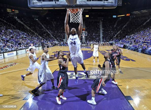 Forward Curtis Kelly of the Kansas State Wildcats drives to the basket for a dunk during the first half against the Texas Tech Red Raiders on January...