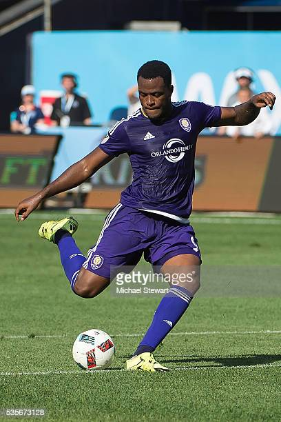 Forward Cyle Larin of Orlando City FC attempts to score during the match vs New York City FC at Yankee Stadium on May 29 2016 in New York City New...