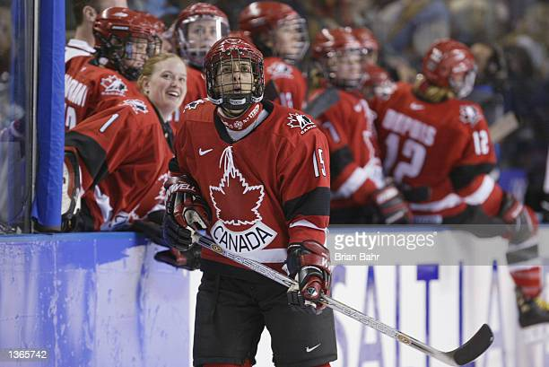 Forward Danielle Goyette of Canada looks on during their game against Finland at the Salt Lake City Winter Olympic Games on February 19 2002 at the E...