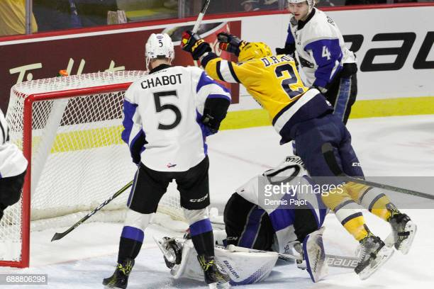 Forward Darren Raddysh of the Erie Otters celebrates his first period goal against goaltender Callum Booth of the Saint John Sea Dogs on May 26 2017...
