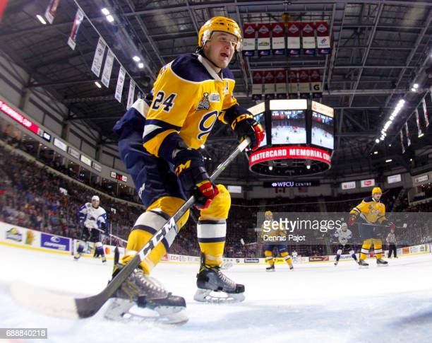Forward Darren Raddysh of the Erie Otters skates against the Saint John Sea Dogs on May 26 2017 during the semifinal game of the Mastercard Memorial...