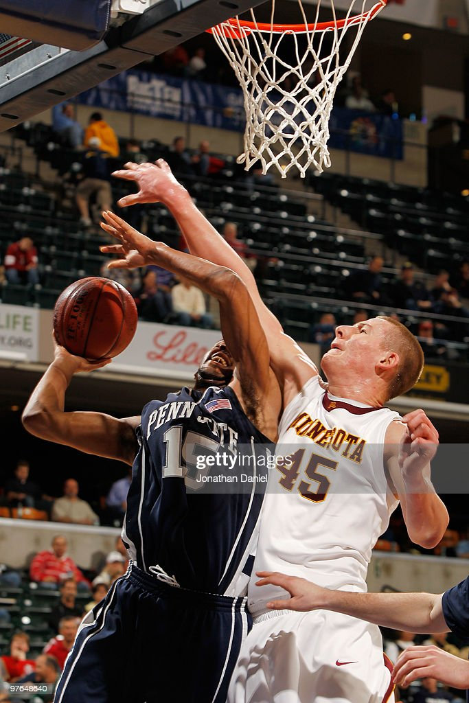 Forward David Jackson #15 of the Penn State Nittany Lion goes up for a shot against center Colton Iverson #45 of the Minnesota Golden Gophers during the first round of the Big Ten Men's Basketball Tournament at Conseco Fieldhouse on March 11, 2010 in Indianapolis, Indiana.