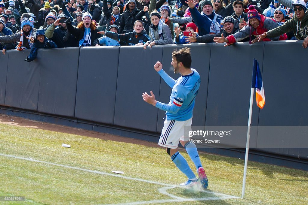 Forward David Villa #7 of New York City FC celebrates after scoring a goal during the match against D.C. United at Yankee Stadium on March 12, 2017 in the Bronx borough of New York City. New York City FC deafeats D.C. United 4-0.