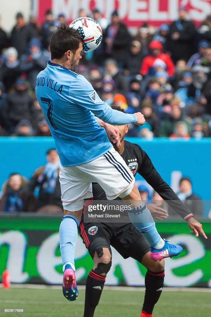 Forward David Villa #7 of New York City FC scores a goal during the match against D.C. United at Yankee Stadium on March 12, 2017 in the Bronx borough of New York City. New York City FC deafeats D.C. United 4-0.