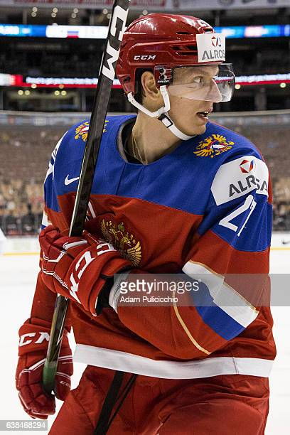 Forward Denis Guryanov of Team Russia looks for a play against Team Slovakia in a preliminary round Group B game during the IIHF World Junior...