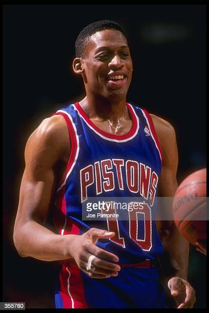Forward Dennis Rodman of the Detroit Pistons looks on during a game against the Dallas Mavericks at Reunion Arena in Dallas Texas Mandatory Credit...