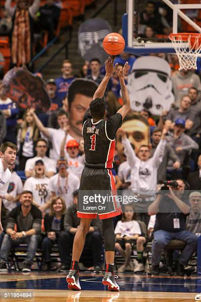Forward Derrick Jones Jr #1 of the UNLV Rebels shoots a free throw against the Boise State Broncos crowd during second half action on February 23...