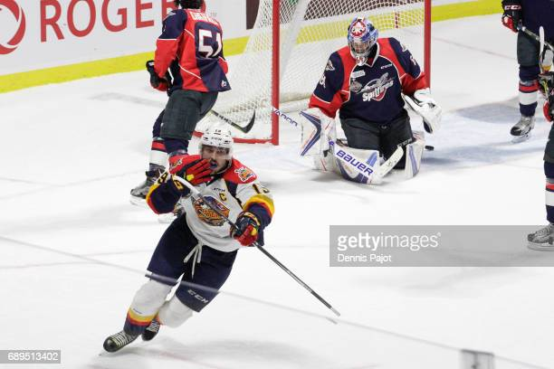 Forward Dylan Strome of the Erie Otters celebrates his first period goal against goaltender Michael DiPietro of the Windsor Spitfires on May 28 2017...