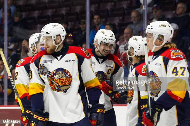 Forward Dylan Strome of the Erie Otters celebrates his fourth goal against the Saint John Sea Dogs on May 22 2017 during Game 4 of the Mastercard...
