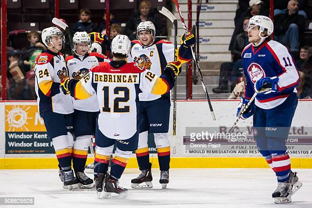 Forward Dylan Strome of the Erie Otters celebrates his goal against the Windsor Spitfires on February 6 2016 at the WFCU Centre in Windsor Ontario...