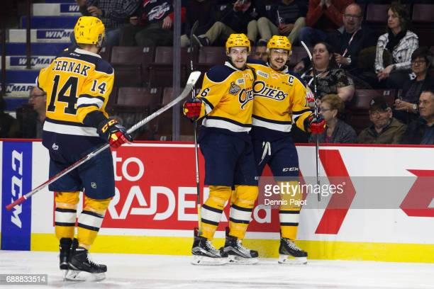 Forward Dylan Strome of the Erie Otters celebrates his third period go ahead goal against the Saint John Sea Dogs on May 26 2017 during the semifinal...